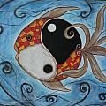 Whimsy Fish 3 Yin and Yang Poster by Rain Ririn