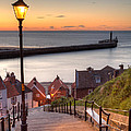Whitby Steps - Orange Glow Poster by Martin Williams