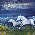 White Horses in Moonlight Poster by Maureen Ida Farley