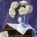 White Roses in a Silver Vase Print by Jack Skinner