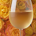 White wine and yellow roses Poster by Garry Gay