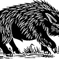 Wild Boar, Woodcut Poster by Gary Hincks