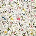 Wild flowers design for silk material Poster by William Kilburn