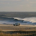 Wind, Waves And Fisherman In An Suv Print by Skip Brown