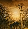 Windmill at Sunset Poster by Iris Greenwell