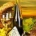 Wine and cheese romantic dinner outdoor Print by Anna Omelchenko