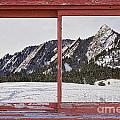Winter Flatirons Boulder Colorado Red barn Picture Window Frame  Poster by James Bo Insogna