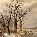 Winter landscape with faggot gatherers conversing on a frozen lake Poster by Josephus Gerardus Hans