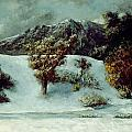 Winter Landscape With The Dents Du Midi Print by Gustave Courbet