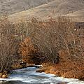 Winter Yakima River with Hills and Orchard Poster by Carol Groenen