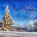 Wintry Christmas Tree Greeting Card Poster by Lois Bryan