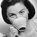 Woman Drinking From Cup Poster by George Marks