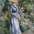 Woman in a Blue Dress Standing in the Garden at Saint-Cloud Poster by Pierre Auguste Renoir