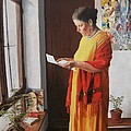 Woman reading a letter Poster by Kevin Hopkins