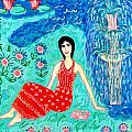 Woman Reading beside Fountain Print by Sushila Burgess