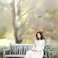 Woman Sitting on Park Bench Poster by Stephanie Frey