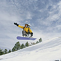 Woman Snowboarding On The Cinder Cone Print by Kate Thompson