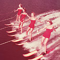 Women Water Skiing Parallel, 1950s Poster by Archive Holdings Inc.