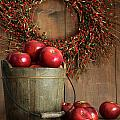 Wood bucket of apples for the holidays Poster by Sandra Cunningham