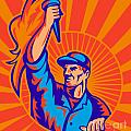 worker carrying flaming torch sunburst Poster by Aloysius Patrimonio
