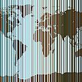World Map Abstract Barcode Print by Michael Tompsett