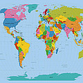 World Map Bright Poster by Michael Tompsett