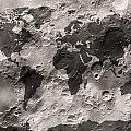 World Map on the Moon's Surface Poster by Michael Tompsett
