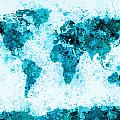World Map Paint Splashes Blue Poster by Michael Tompsett