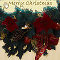 Wreath Garland Greeting Print by DigiArt Diaries by Vicky B Fuller