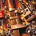 Wrench tools and nuts Print by Garry Gay