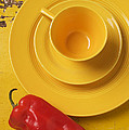 Yellow Cup And Plate Poster by Garry Gay