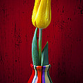 Yellow Tulip In Colorfdul Vase Poster by Garry Gay