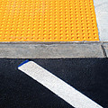 Yellow with White Street Line Print by Sharon Deveaux
