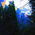 Yosemite Snow Mountain Tops . Vertical Cut Poster by Wingsdomain Art and Photography