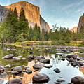 Yosemite Valley Reflected In Merced River Print by Ben Neumann