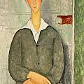 Young boy with red hair Print by Amedeo Modigliani