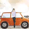 Young Woman Standing In Front Of Car Drinking Takeaway Coffee Poster by Eastnine Inc.