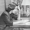 Young Woman Writing Letter At Desk, (b&w) Poster by George Marks