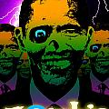 Zombie Obama Horde Lightning Storm Poster by Robert Phelps