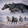 Horse Painting Distant Thunder Print by Gina Femrite