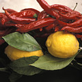 Lemons And Dried Red Peppers  For Sale Print by Richard Nowitz