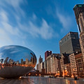 Chicago Skyline and bean at sunrise Poster by Sven Brogren