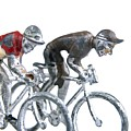 Cyclists Print by BERNARD JAUBERT
