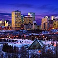 Edmonton Winter Skyline Poster by Corey Hochachka