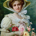 Elegant lady with a bouquet of roses Poster by Emile Vernon