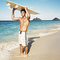 Man at the beach with surfboard Print by Brandon Tabiolo - Printscapes
