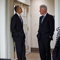 President Obama Talks With Former Poster by Everett