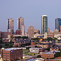 Tall Buildings in Fort Worth at Dusk Print by Jeremy Woodhouse