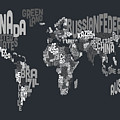 Text Map of the World Poster by Michael Tompsett