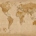 World Map Antique Style Print by Michael Tompsett